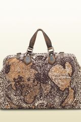 Gucci Goldmark Map Print Jacquard Cotton Carryon Duffle Bag in Brown for Men (multicolor) - Lyst