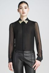 Jason Wu Embroidered Chiffon Blouse - Lyst