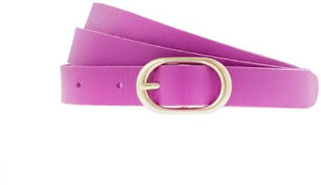 J.crew Leather Roundbuckle Belt in Purple (bright fuchsia) - Lyst