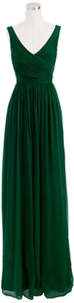 J.crew Heidi Gown in Silk Chiffon in Green (monterey pine) - Lyst