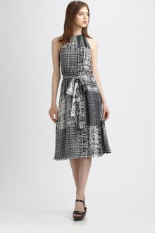 L'Agence Printed Silk Dress - Lyst