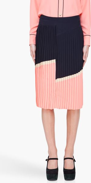 Marni Peach Pleated Midi Skirt in Pink (black) - Lyst