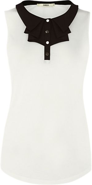 Oasis Oasis Pleat Bow Detail Top Whiteblack in White - Lyst
