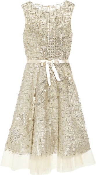 Oscar de la Renta Embellished Tulle Dress - Lyst