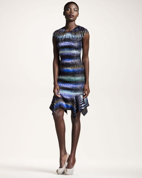 Peter Pilotto Striped Handkerchiefhem Dress in Multicolor (tiger purple)