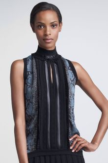 Roberto Cavalli Pleated Center Python Print Blouse - Lyst