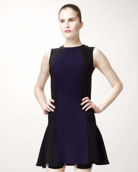 Stella Mccartney Bicolor Contoured Dress in Blue (black) - Lyst