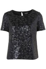 Topshop Short Sleeve Sequin Tee