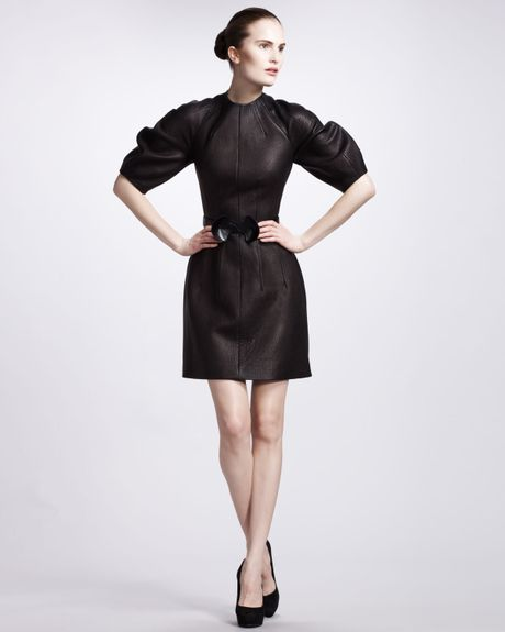 Alexander Mcqueen Glove Leather Dress in Black - Lyst
