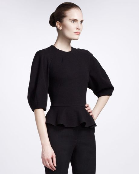 Alexander Mcqueen Peplum Top in Black - Lyst