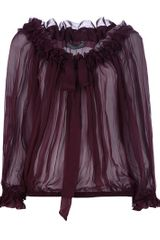 Alexander Mcqueen Pleated Blouse in Purple (burgundy) - Lyst