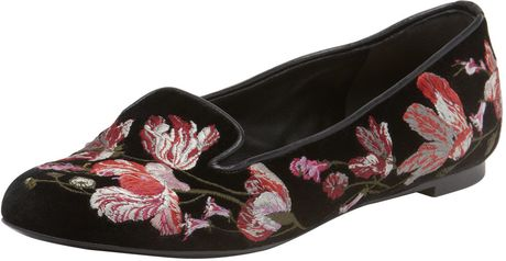 Alexander Mcqueen Floralembroidered Smoking Slipper in Floral (multi)