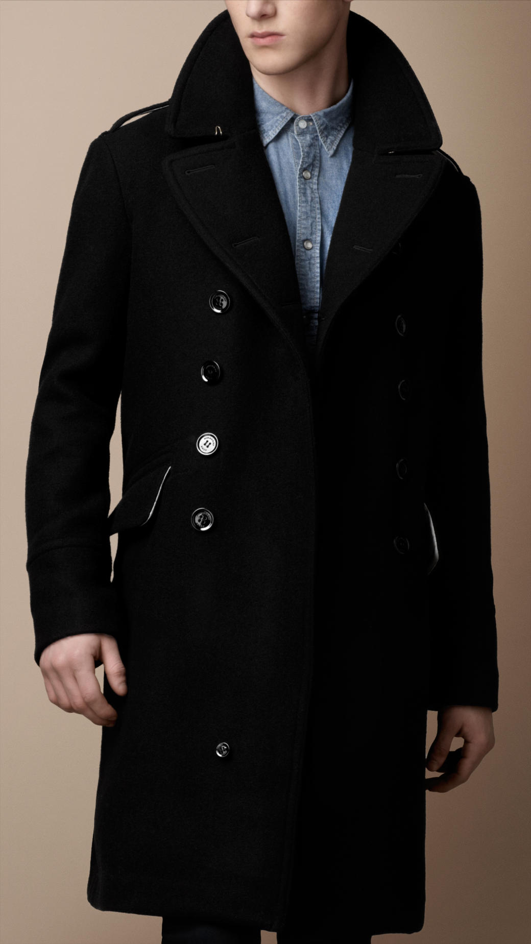 Burberry Brit Oversized Wool Blend Great Coat In Black For
