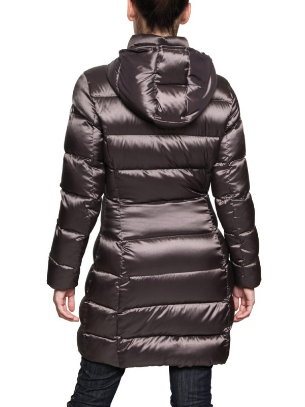 Lyst Colmar Hooded Satin Nylon Light Down Jacket In Brown