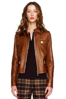 Michael Kors Leather Motorcycle Jacket - Lyst