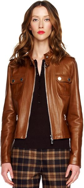Michael Kors Leather Motorcycle Jacket in Brown