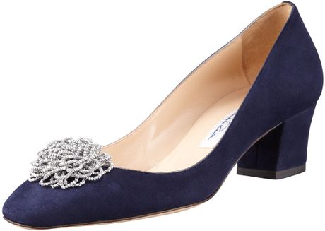 Oscar De La Renta Beaded Flower Lowheel Pump in Blue (navy) - Lyst