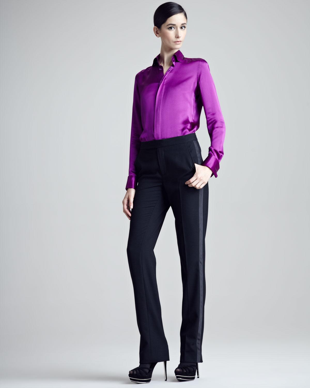 Unique Women39s Plain Front Tuxedo Pants Black