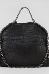 Stella Mccartney Crocodileembossed Foldover Falabella Tote Black in Black - Lyst
