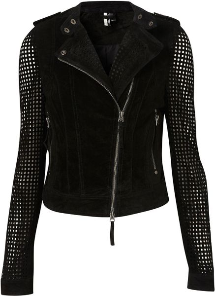 Topshop Suede Perforated Biker Jacket in Black