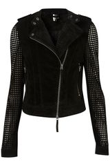 Topshop Suede Perforated Biker Jacket in Black - Lyst