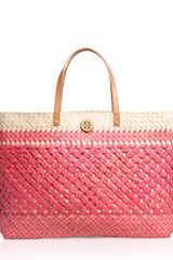 Tory Burch Straw Large Square Tote - Lyst