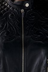 Versace Quilted Leather Jacket in Black - Lyst