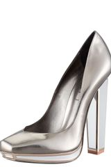 Saint Laurent Metallic Mirrorheeled Pump - Lyst
