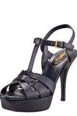 Saint Laurent Snakeembossed Tribute Sandal - Lyst