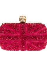 Alexander Mcqueen Crystal Studded Clutch in Red - Lyst