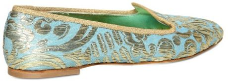 Dolce & Gabbana 10mm Brocade Gold Loafers in Multicolor (turquoise)