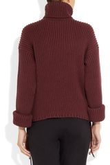 Gucci Ribbed Wool Turtleneck Sweater in Purple (burgundy) - Lyst