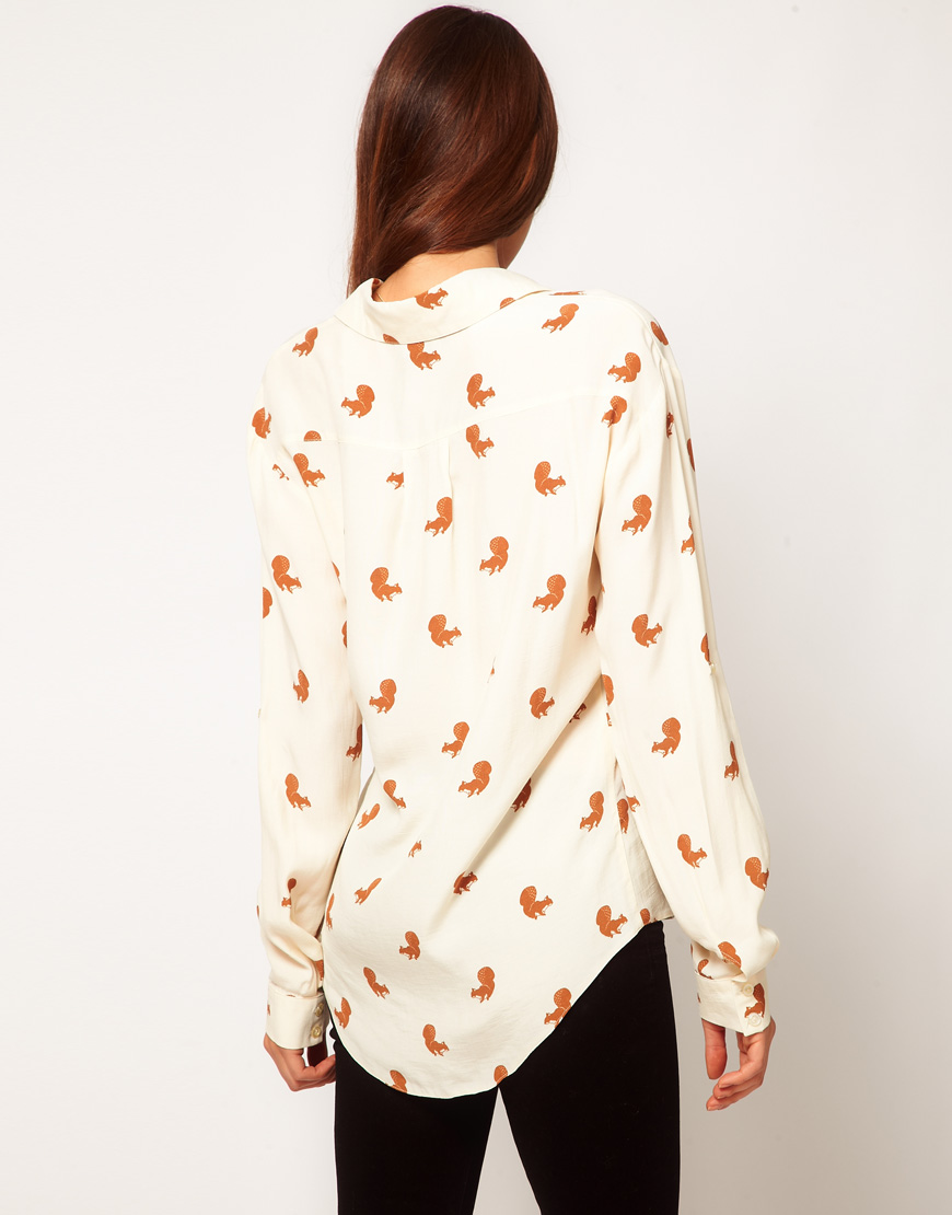 asos collection asos shirt with squirrel print in white lyst