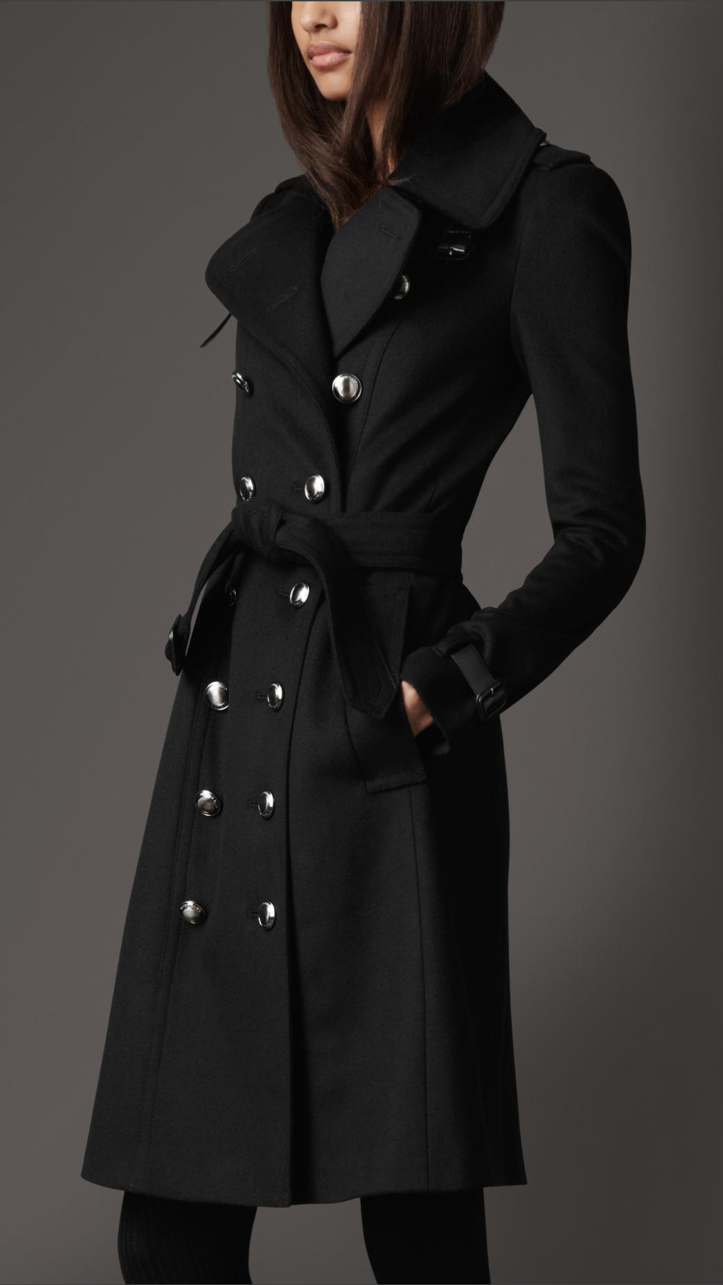 Burberry Long Wool and Cashmere Blend Trench Coat in Black | Lyst