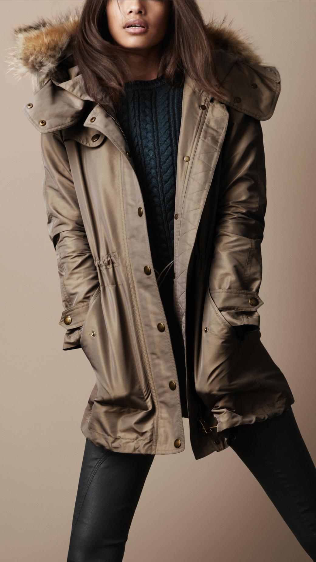 Burberry Brit Fur Trim Parka in Gray - Lyst 91658e52b