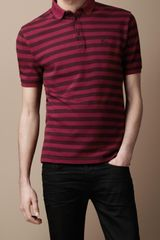 Burberry Striped Cotton Polo Shirt - Lyst