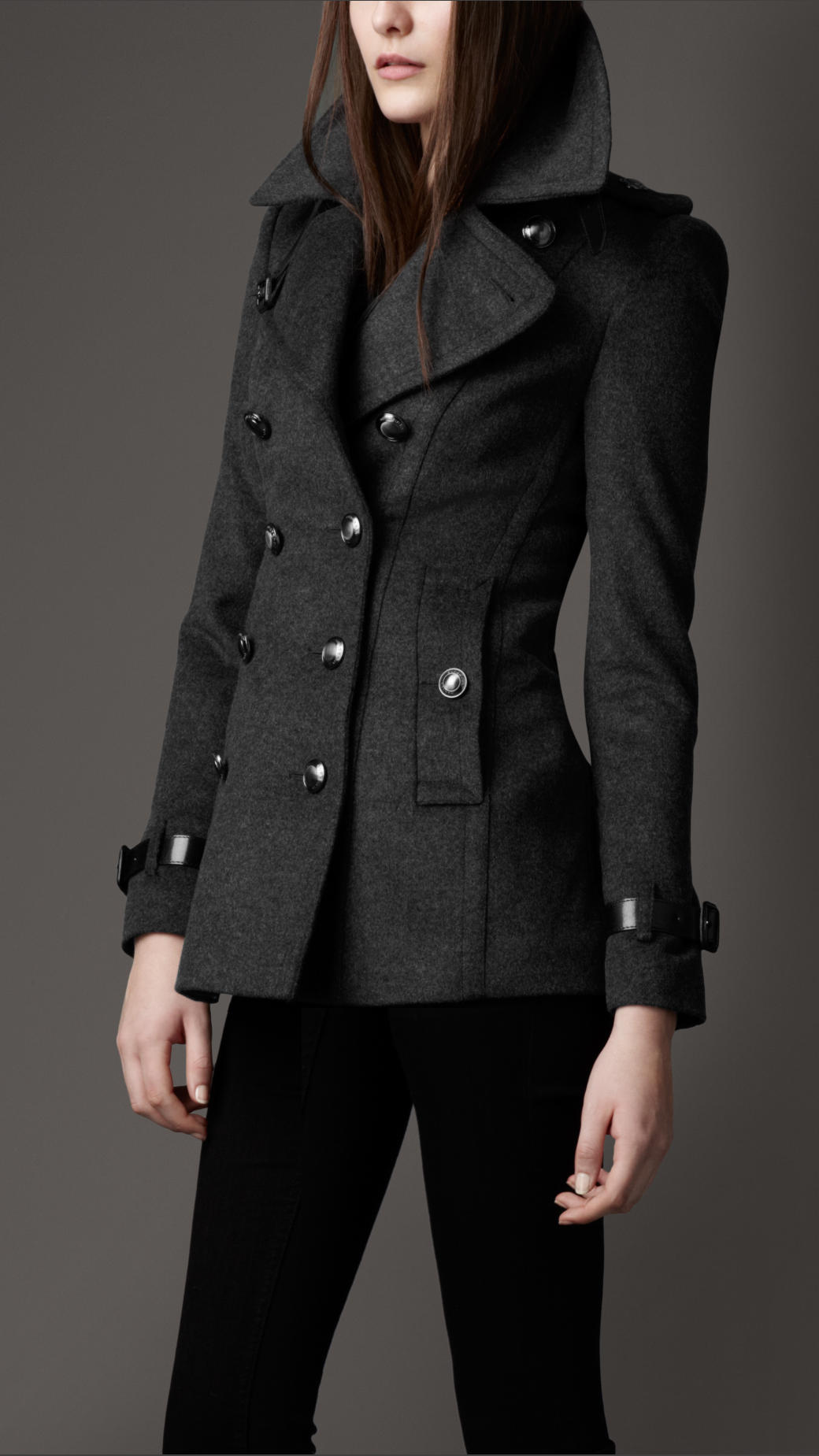 Burberry Short Wool Cashmere Trench Coat In Black For Men