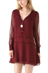 Elizabeth And James Lara Crepe Dress in Red (merlot) - Lyst