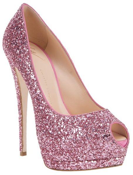 Giuseppe Zanotti Glitter Embellished Pump in Pink | Lyst