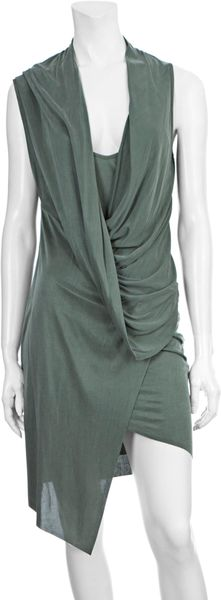 Helmut Lang Drape Front Dress in Green (sage) - Lyst