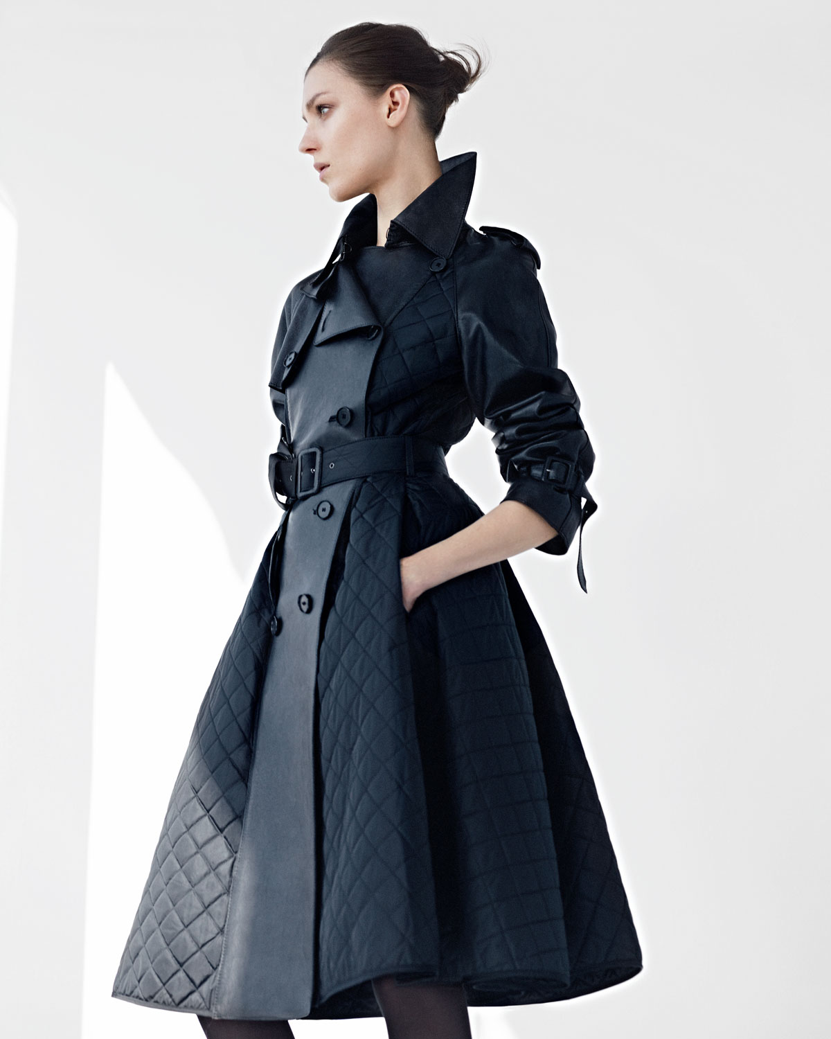 Jean Paul Gaultier Quilted Tech Leather Princess Coat In