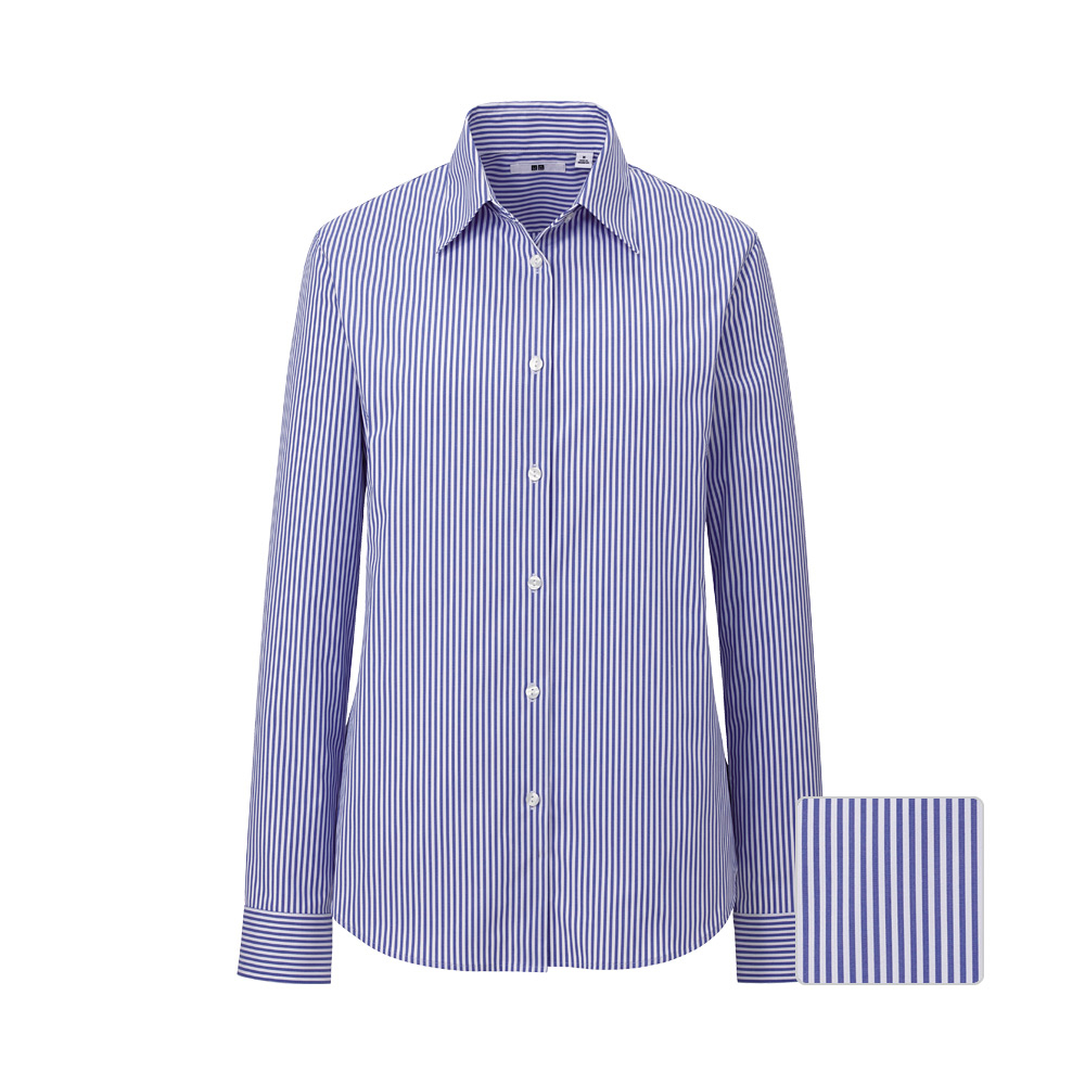 Uniqlo Cut Stretch Broadcloth Stripe Long Sleeve Shirt A