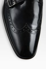 Versace Patent Leather Double Monk Strap in Black for Men - Lyst