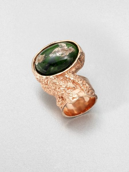 Yves Saint Laurent GoldTone Arty Ovale Ring in Gold (militarygreen) - Lyst