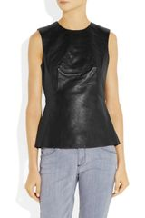 Alexander Wang Pleated Leather Top in Black - Lyst