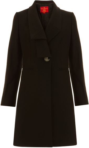 Black Melton Wool Blend Coat - Lyst
