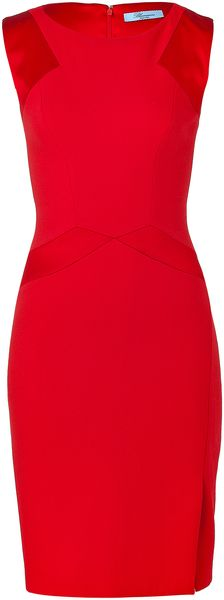 Blumarine Scarlet Red Fabric Pencil Dress - Lyst