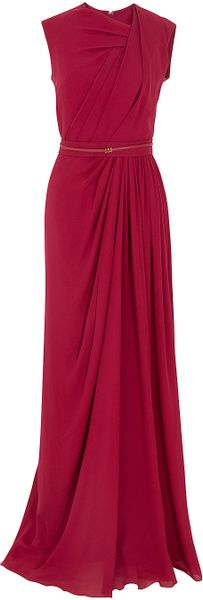 Elie Saab Gathered Front Gown in Red
