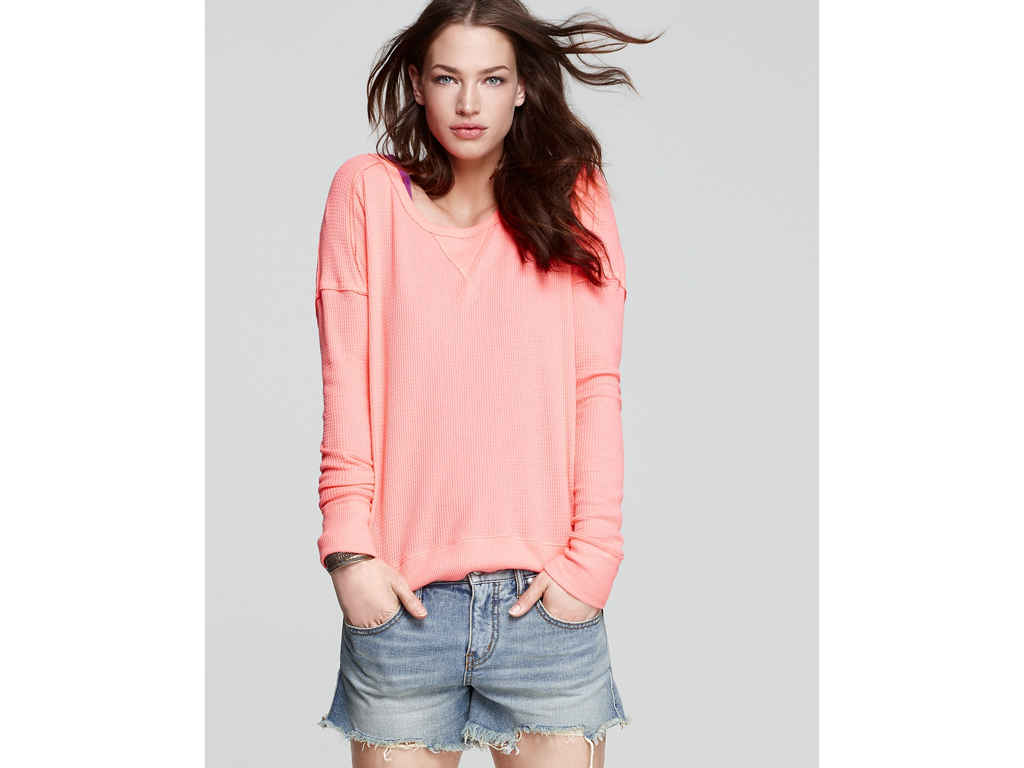 free people top belgian waffle thermal in pink lyst