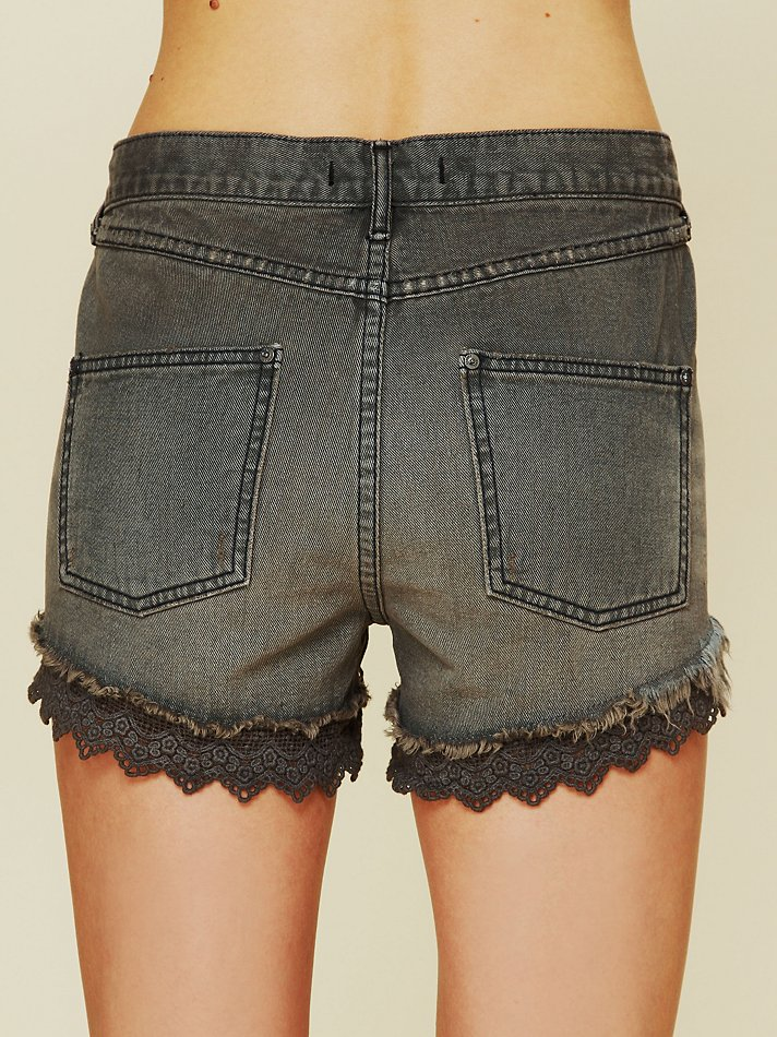 Free people Lacey Denim Cutoff Shorts in Black (stone black) | Lyst